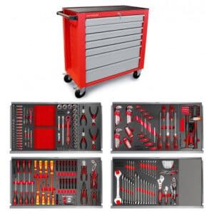 Servante d'atelier large MW-Tools avec 211 outils
