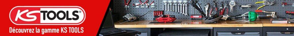 Bannière KS Tools Logo et établi avec outils