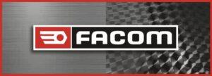 Logo Marque Facom sur fond gris Carbone