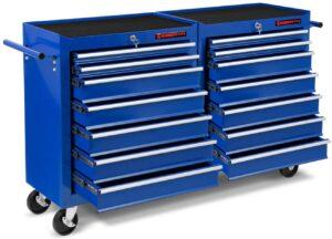 Servante bleue XXL Eberth 14 tiroirs ouverts