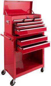 Servante d'atelier 9 tiroirs Arebos rouge avec tiroirs ouverts