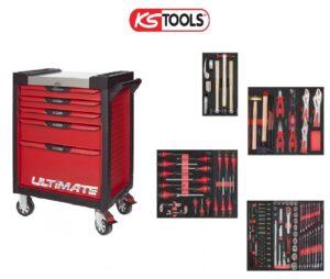 Servante KS Tools Ultimate 7 tiroirs rouge avec lot outillage