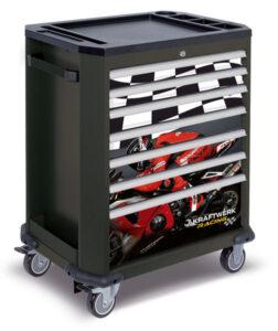 Servante d'atelier Kraftwerk Vide 7 tiroirs Racing avec déco moto et drapeau damier sur tiroirs