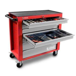 Servante d'atelier Large MW-Tools 7 tiroirs avec tiroirs ouverts