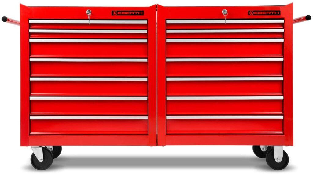 Servante rouge 14 tiroirs Eberth de face avec ses poignées de chaque coté