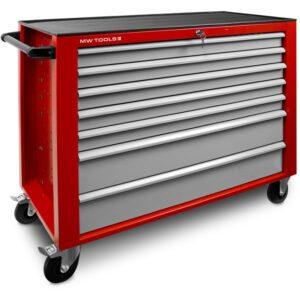 Servante d'atelier rouge MW-Tools Large 7 tiroirs gris