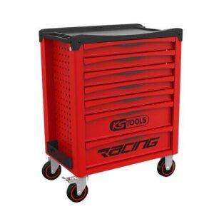 Servante d'atelier rouge vide KS Tools 7 tiroirs et 4 roues