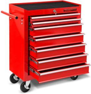 Servante d'atelier vide pas chère Eberth rouge avec 7 tiroirs ouverts