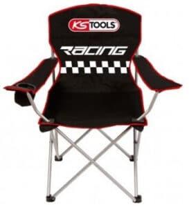 Siège pliable KS-Tools Racing noir avec porte gobelet
