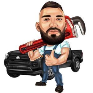 Dessin de mécanicien pouce en l'air avec clé à molette et pickup toyota derrière