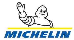 Logo Michelin Officiel écrit en bleu avec bonhomme qui salue