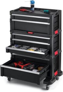 Servante caisse à outils 7 tiroirs avec tiroirs ouverts noir