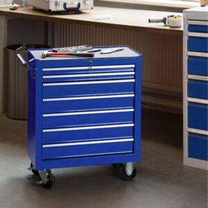 Servante d'atelier vide 7 tiroirs bleu dans atelier industriel