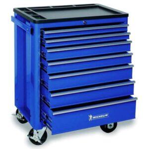 Servante Michelin 7 tiroirs vide bleue avec tiroirs ouverts